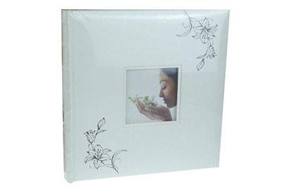 16. Közepes méretű, fehér színű, virágos, ablakos, 24x24cm, 30 lap / 60 oldal
