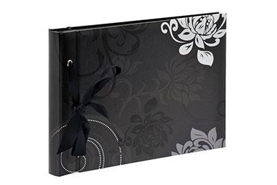 19. Kisméretű, szalagos, fekete mintás, 23x17cm, 20 <b>fekete</b> lap / 40 <b>fekete</b> oldal