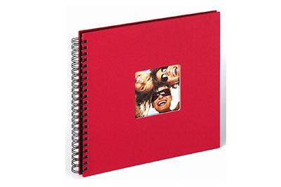 24. Nagyméretű, spirálos, piros színű, ablakos, 30x30cm, 25 <b>fekete</b> lap / 50 <b>fekete</b> oldal