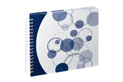 32. Közepes méretű, spirálos, fehér alapon kék körös, 28x24cm, 25 fehér lap / 50 fehér oldal