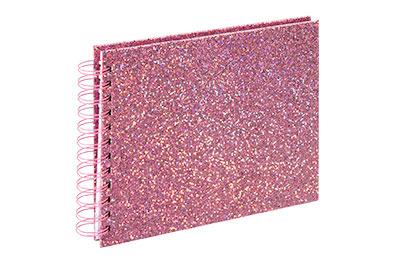 35. Kisméretű, spirálos, pink színű, csillogós, 24x17cm, 25 fehér lap / 50 fehér oldal