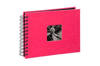37. Kisméretű, spirálos, pink színű, ablakos, 24x17cm, 25 <b>fekete</b> lap / 50 <b>fekete</b> oldal